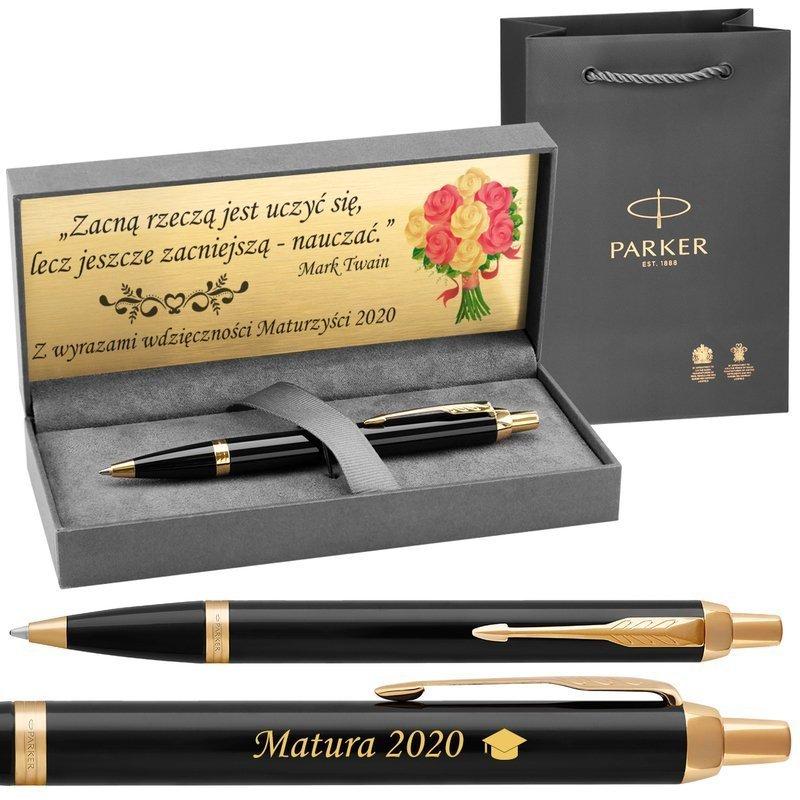 Długopis Parker IM Czarny GT z Grawerem Etui Torebka