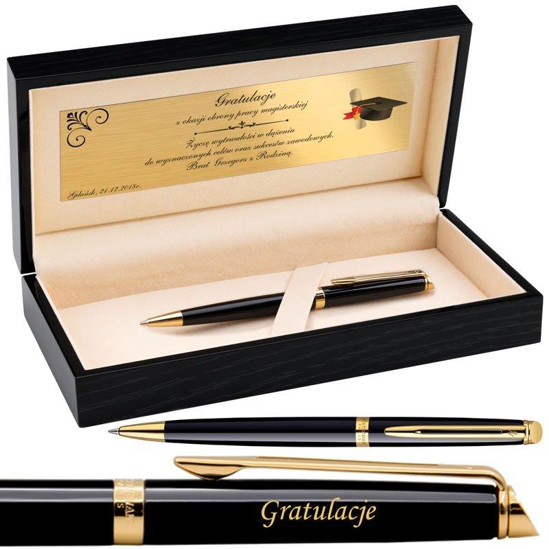 Długopis Waterman Hemisphere Czarny GT Drewniane Pudełko Grawer