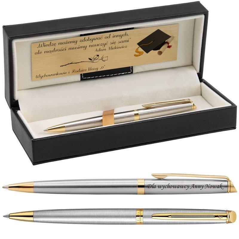 Długopis Waterman Hemisphere stalowy GT Grawer