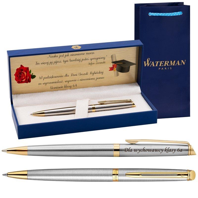 Długopis Waterman Hemisphere stalowy GT z Grawerem