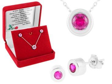 Komplet biżuterii pr. 925  rubinowa cyrkonia DEDYKACJA