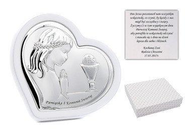 Obrazek srebrny na białym drewnie dziewczynka Grawer pamiątka na I Komunia Św. z Dedykacją