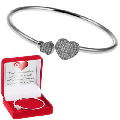 Okrągła Bransoletka srebrna serca mikrosetting pr. 925 Dedykacja