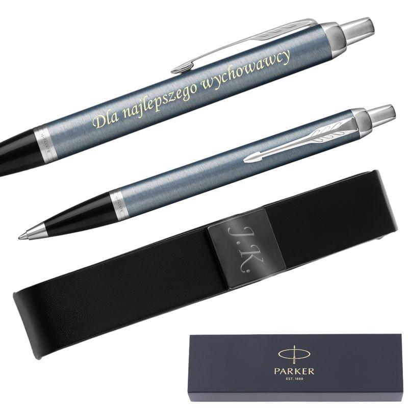 Parker IM Długopis Blue Grey CT + Etui Grawer