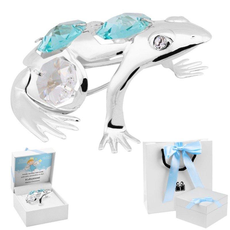 Posrebrzana figurka żaba Swarovski Dedykacja