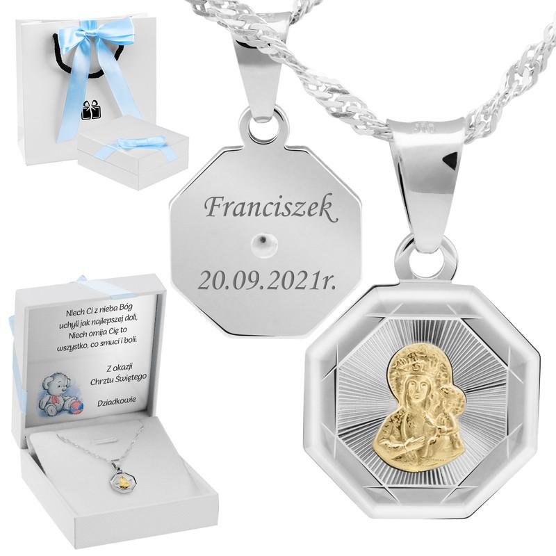 Srebrny medalik Matka Boska Częstochowska Pozłacana pr. 925 Grawer