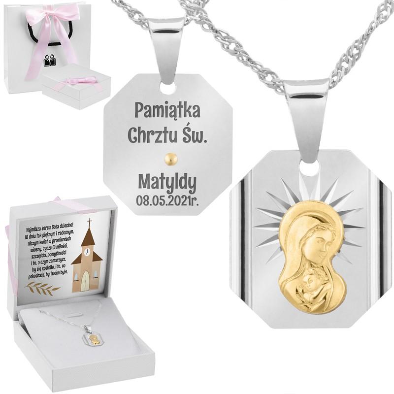 Srebrny medalik z Matką Boską, pozłacaną Dedykacja