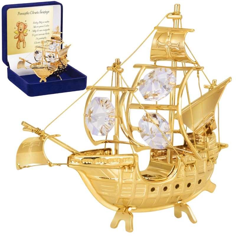 Statek Swarovski Pamiątka z Chrztu Chrzest DEDYKACJA
