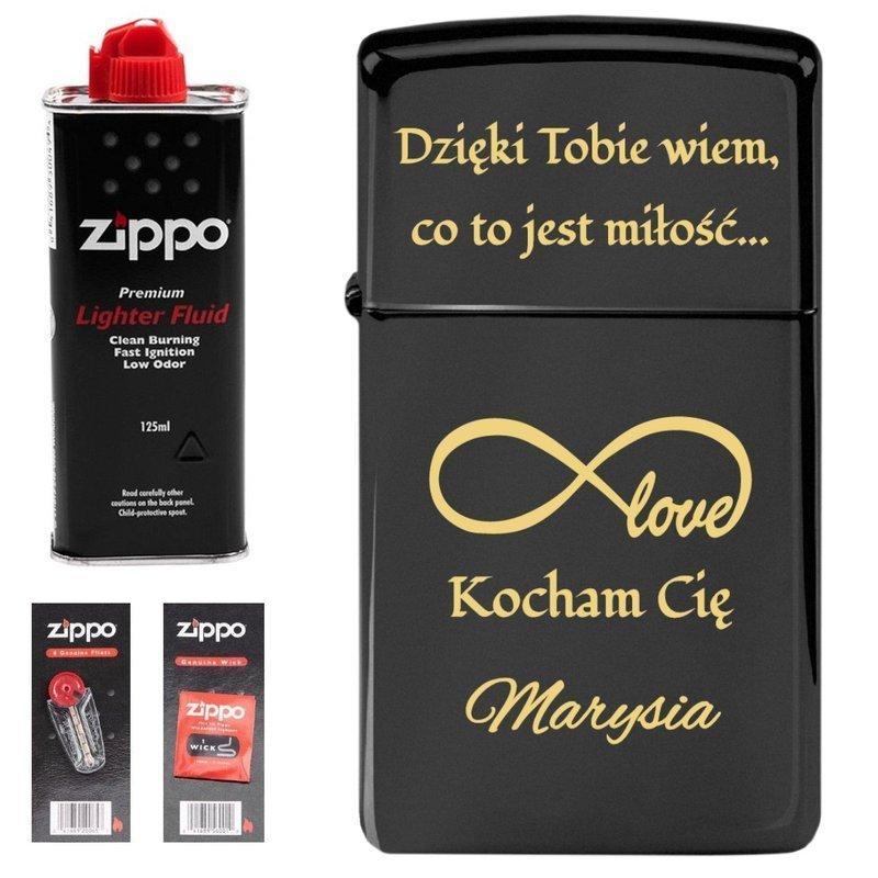 Zapalniczka ZIPPO Z1618 Slim Black prezent benzyna, knoty, kamienie Grawer