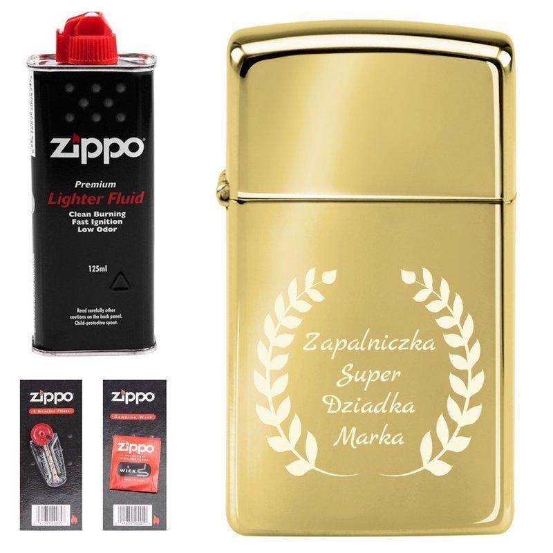 Zapalniczka ZIPPO z1654b Slim High Polish Brass benzyna, knoty, kamienie GRAWER