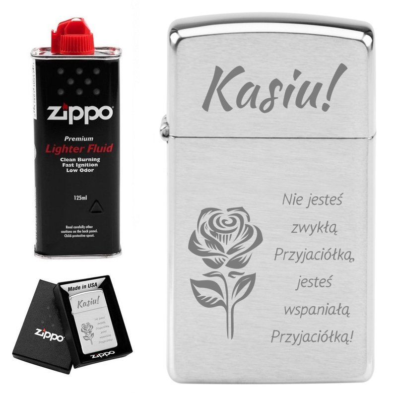 Zapalniczka Zippo Slim Brushed Chrome GRAWER benzyna