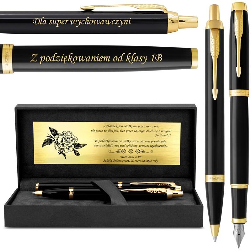 Zestaw Pióro wieczne Długopis Parker IM Czarny GT z Grawerem