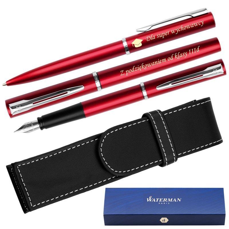 Zestaw Waterman Pióro + Długopis Allure Czerwony CT Etui Grawer