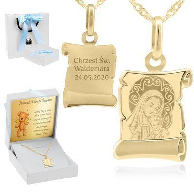 Złoty medalik Matka Boska i Jezusem pr. 585 Grawer