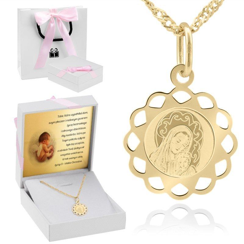 Złoty medalik okrągły ażurowy Matka Boska z Dzieciątkiem DEDYKACJA różowa kokardka