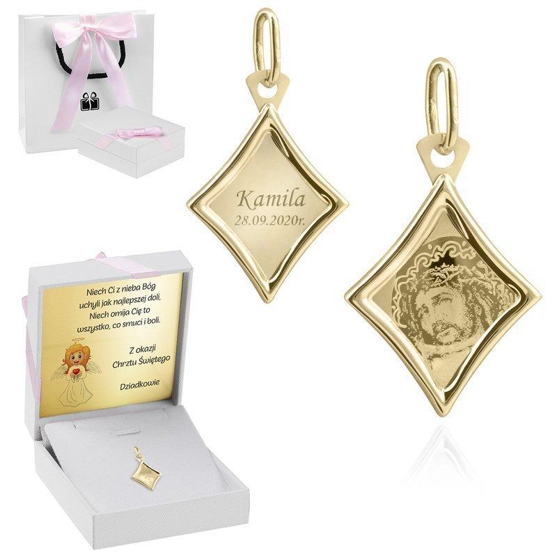 Złoty medalik romb pr. 585 Jezus Dedykacja