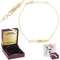 Złota bransoletka pr. 585  Nieskończoność z blaszką GRAWER złota kokardka