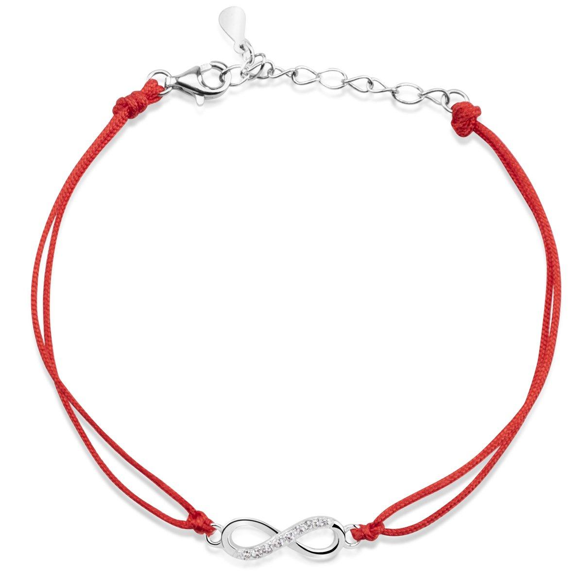 Bransoletka nieskończoność z cyrkoniami na czerwonym sznurku Srebro 925 Dedykacja