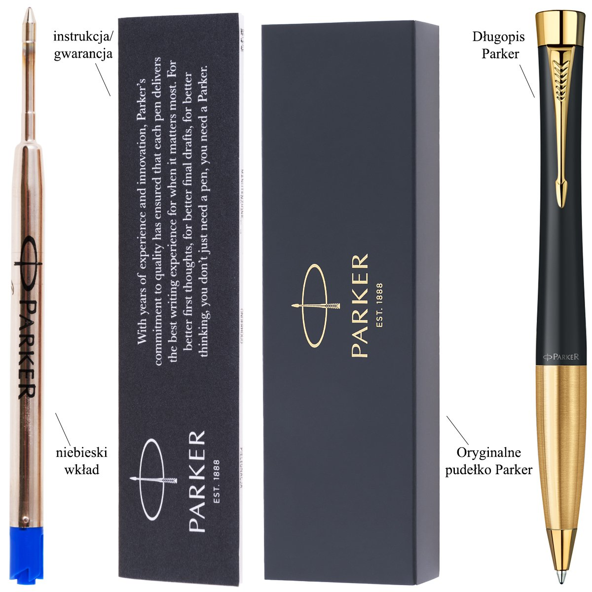 Parker Urban czarny MUTED BLACK GT Długopis Etui