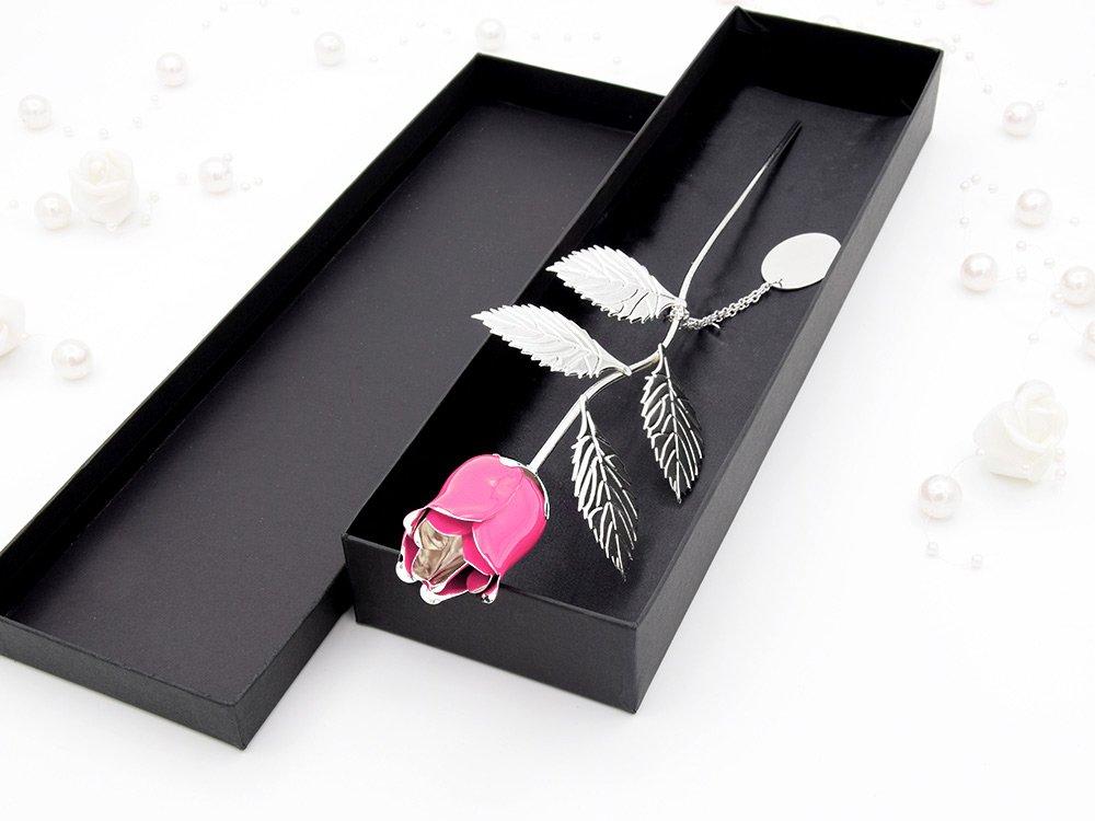 Posrebrzana Róża Róż Prezent Urodziny Grawer Walentynki