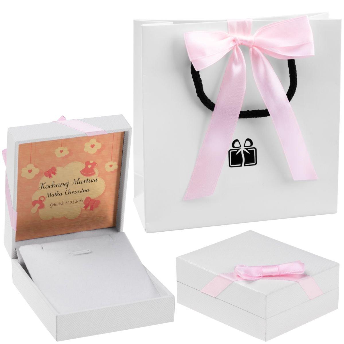 Pudełko na biżuterię białe z różową tasiemką Dedykacja