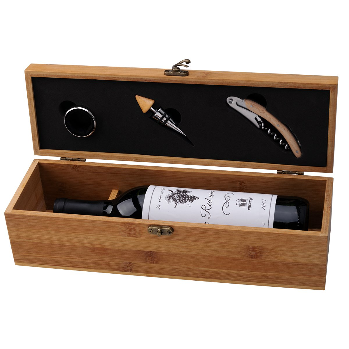 Skrzynka na wino wraz z akcesoriami Prezent z Grawerem