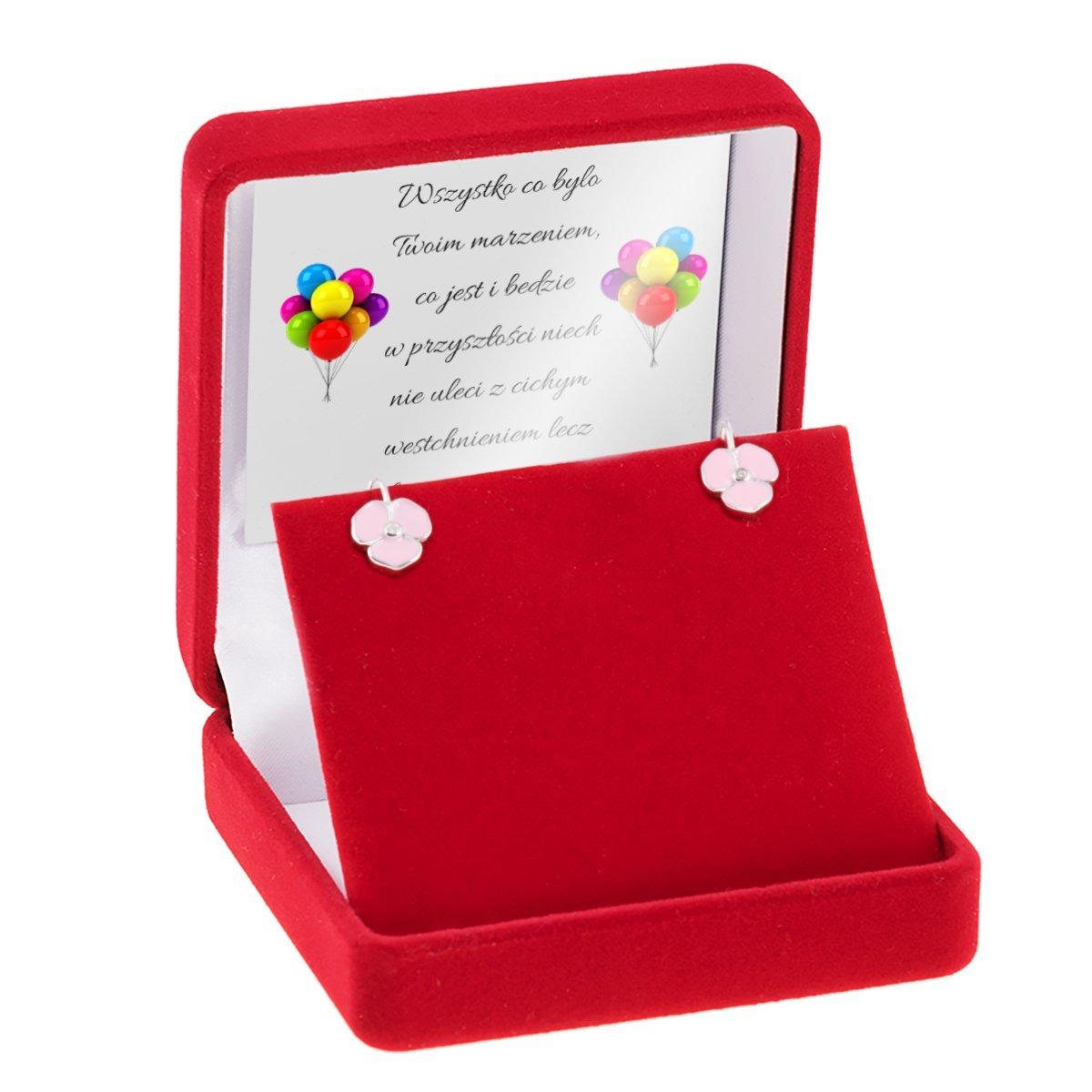 Srebrne kolczyki pr 925 Różowe kwiatki Dedykacja