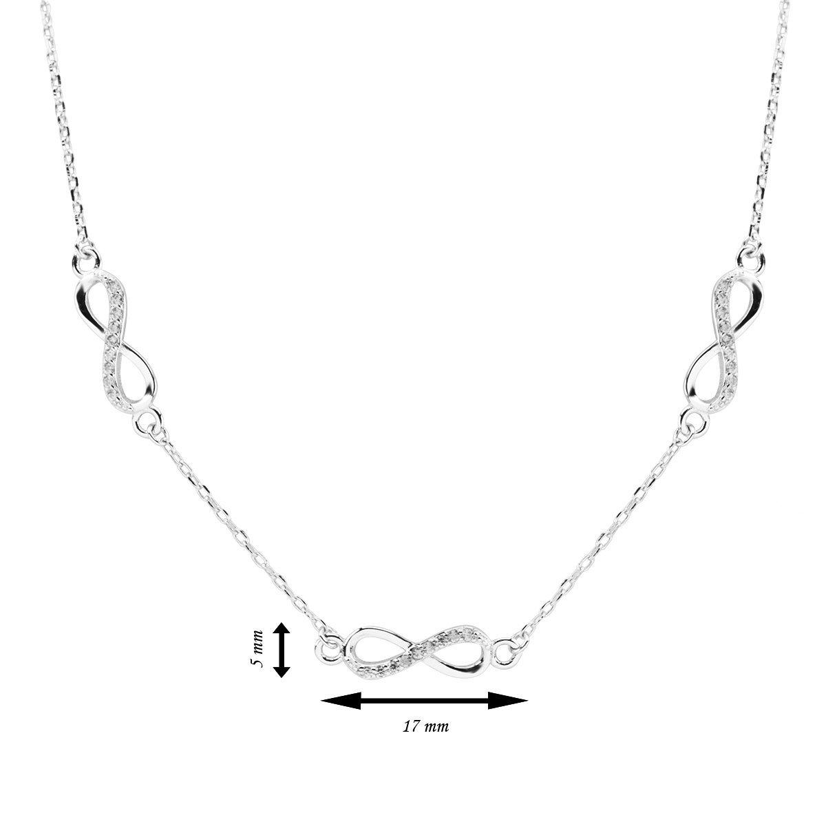 Srebrny Naszyjnik pr. 925 Nieskończoność z cyrkoniami 3 elementy Dedykacja
