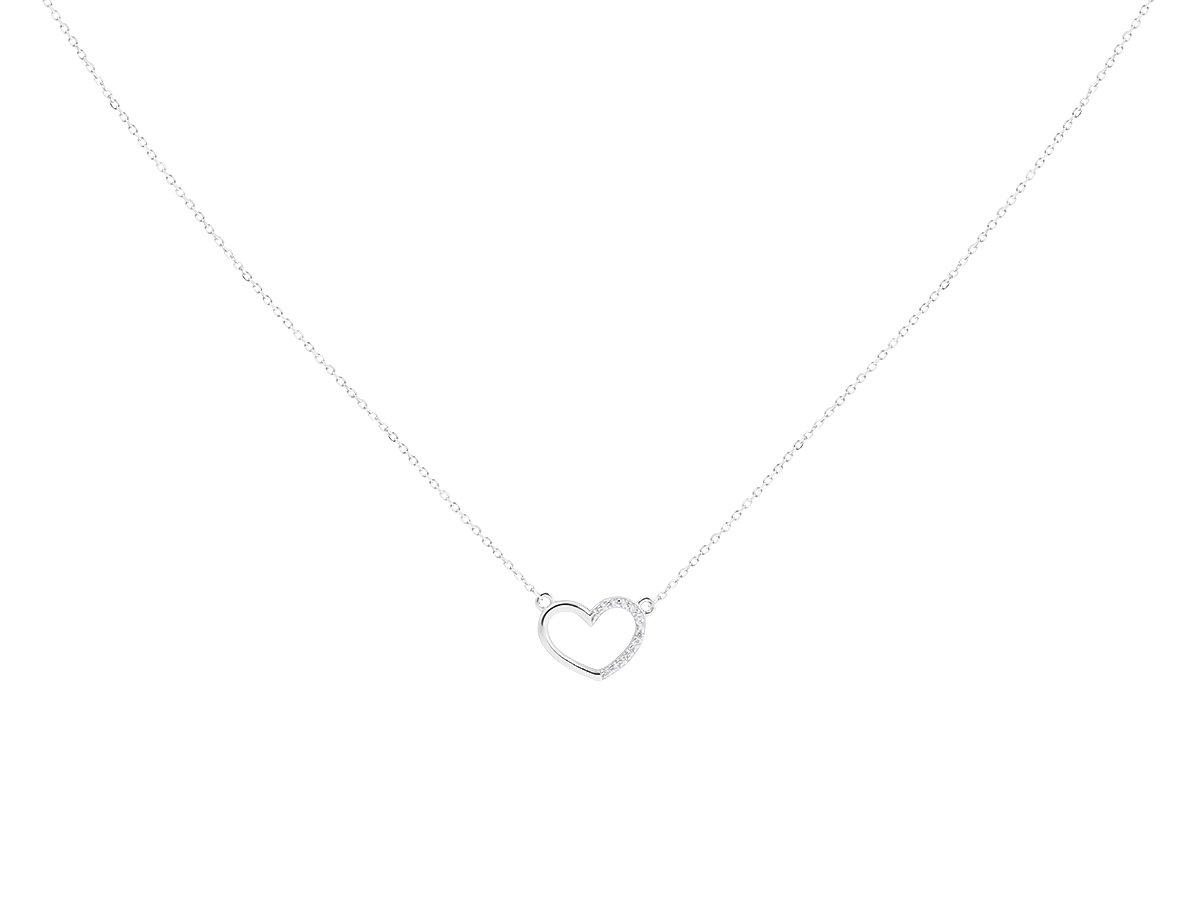 Srebrny Naszyjnik pr. 925 serce z cyrkoniami 42-45 cm regulowane DEDYKACJA