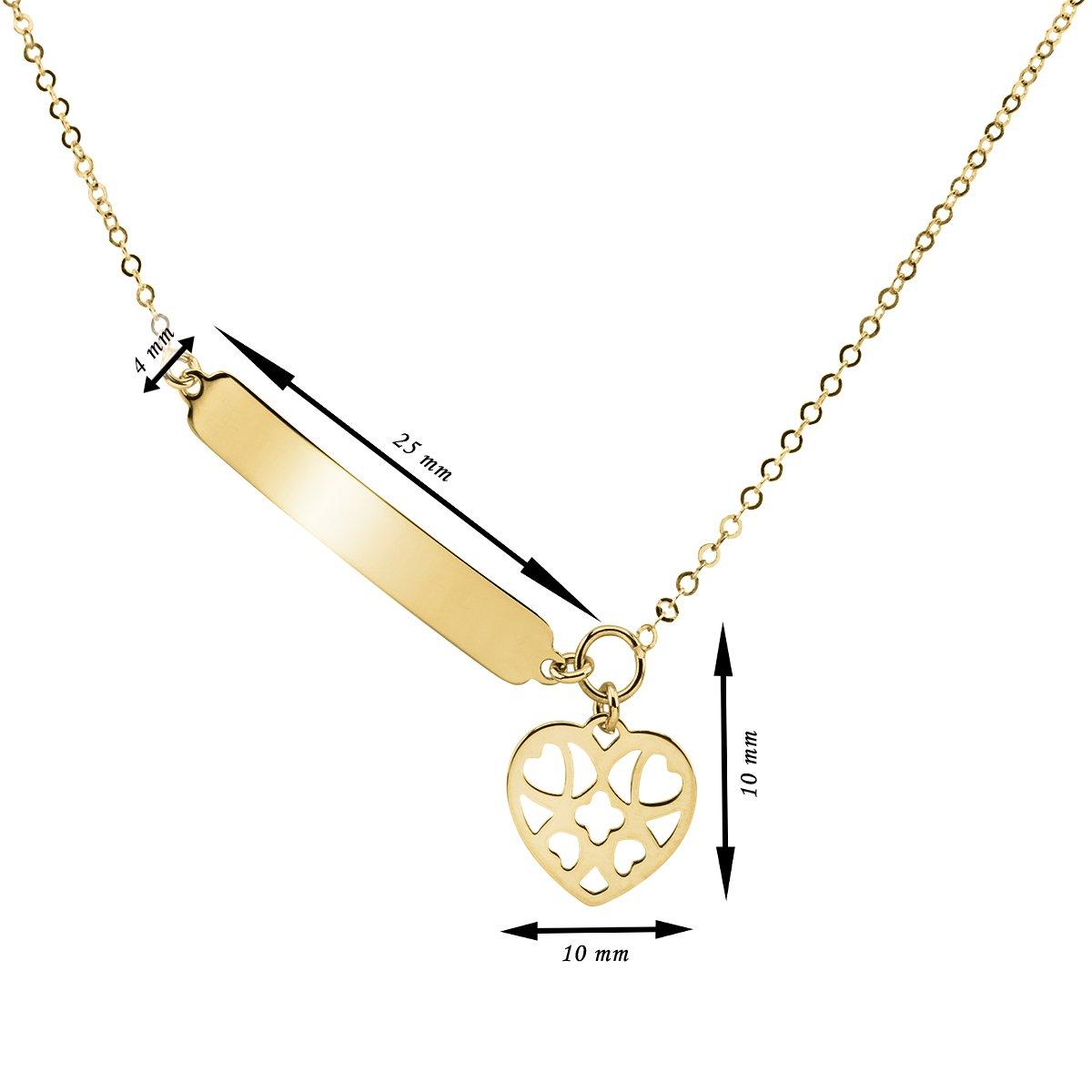 Złoty Naszyjnik pr. 333 ażurowe serce z blaszką Grawer i Dedykacja