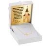 Naszyjnik CELEBRYTKA krzyżyk złoto pr. 585 GRAWER różowa kokardka 1