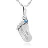 Naszyjnik stópka z błękitnym kamieniem srebro 925 GRAWER 4