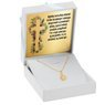 Złoty medalik z łańcuszkiem próba 585 z wizerunkiem Matki Boskiej Chrzest Komunia Bierzmowanie GRAWER niebieska kokardka 10